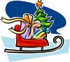 picture of a sleigh with a bag of toys and a tree in a vector clip art illustration clipart