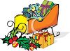 picture of a sleigh with wrapped gifts, a stuffed bear, and holly berries in a vector clip art illustration clipart