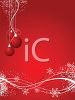 picture of a red Christmas scenery background with red ball ornaments hanging in a vector clip art illustration clipart