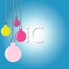 picture of a blue background with colorful christmas ball decorations hanging in a vector clip art illustration clipart