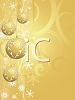 picture of a gold abstract background with golden christmas balls decorated with snow hanging in a vector clip art illustration clipart