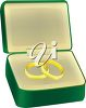 picture of a pair of gold wedding rings in a green jewelry box in a vector clip art illustration clipart