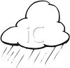 picture of a rain cloud in black and white in a vector clip art illustration clipart
