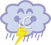 picture of a happy rain cloud with a smily face and a yelllow lightning bolt in a vector clip art illustration clipart