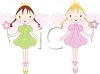 picture of two ballerina fairies holding wands and standing on their tip toes in a vector clip art illustration clipart
