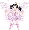 picture of fairy ballerina on her tip toes holding out her arms and smiling in a vector clip art illustration clipart