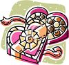 picture of a cartoon of an opened box of chocolates in a heart shaped box in a vector clip art illustration clipart