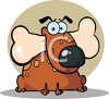 picture of a chubby cartoon dog sitting down with a bone in his mouth in a vector clip art illustration clipart