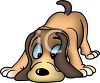 picture of a cartoon dog sniffing the ground in a vector clip art illustration clipart