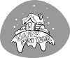 picture of a log cabin covered in snow with a happy new year banner in a vector clip art illustration clipart