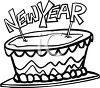 picture of a happy new years cake in a vector cli art illustration clipart