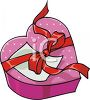 picture of a pink  heart  shaped box of chocolates with a red ribbon in a vector clip art illustration clipart
