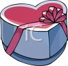 picture of a large heart shaped box of chocolates with  a pink ribbon in a vector clip art illustration clipart