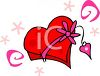 picture of a red heart shaped  box of chocolates with a pink ribbon and heart decoration in a vector clip art illustration clipart