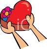 picture of a person handing someone a heart shaped box of chocolates in a vector clip art illustration clipart