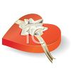 picture of a red heart shaped box of chocolates with a silver bow in a vector clip art illustration clipart