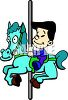 picture of a boy riding on a horse and carousel in a vector clip art illustration clipart
