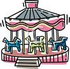 picture of a carousel ride in a vector clip art illustration clipart