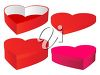 picture of heart boxes with lids in a vector clip art illustration clipart