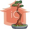 picture of a bonsai tree in a planter with a pink tree silhouette in the background in a vector clip art illustration clipart
