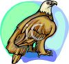 picture of a bald eagle standing on a perch with a blue background in a vector clip art illustration clipart