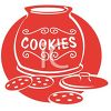 picture of a red cookie jar  on a red background with cookies on the counter in a vector clip art illustration clipart