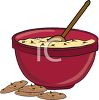 picture of a bowl of chocolate chip cookie dough with a spoon inside and chocolate chip cookies on the counter in a vector clip art illustration clipart