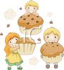 picture of three children  holding cupcakes and smiling with chocolate chips and clouds in the air in a vector clip art illustration clipart