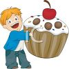 picture of a happy smiling boy holding a giant cupcake with a cherry on top in a vector clip art illustration clipart