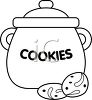 picture of a cookie jar with cookies on the counter in a vector clip art illustration clipart