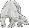 picture of a greyscale polar bear standing and looking at the ground in a vector clip art illustration clipart
