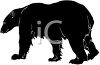 picture of a silhouette of a polar bear walking in a vector clip art illustration clipart