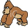 picture of a young gorilla standing on a white background in a vector clip art illustration clipart