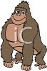 picture of a young gorilla standing on a white background in a vector clip art llustration clipart