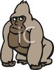 picture of a gorilla standing on a white background in a vector clip art llustration clipart