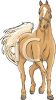 picture of a palamino horse wallking in a vector clip art illustration clipart