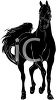 picture of a silhouette of a stallion on a white background in a vector clip art illustration clipart