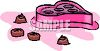picture of a heart shaped box of chocolates with a few chocolates on the table in a vector clip art illustration clipart