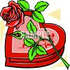 picture of a heart shaped box of chocolates with a single red rose in a vector clip art illustration clipart