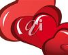 picture of three red hearts in a vector clip art illustration clipart