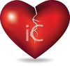 picture of a broken heart in a vector clip art illustration clipart