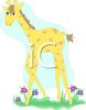 picture of a cartoon giraffe calf  walking in the grass in a vector clip art illustration clipart
