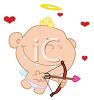 picture of a boy dressed as cupid shooting an arrow in a vector clip art illustration clipart