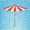 picture of a striped open umbrella in the rain in a vector clip art illustration clipart