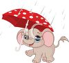 picture of a baby elephant holding an umbrella in the rain in a vector clip art illustration clipart