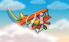picture of an airplane flying through the clouds in a vector clip art illustration clipart
