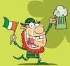 picture of a leprechuaun with an irish flag and a mug of beer in a vector clip art illustration clipart