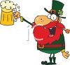 picture of a leprechaun toasting with a foamy beer in a mug in a vector clip art illustration clipart