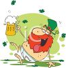 picture of a drunken leprechaun sitting on the floor holding a mug of beer in a vector clip art illustration clipart