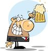 picture of a businessman holding up a mug of foamy beer in a vector clip art illustration clipart
